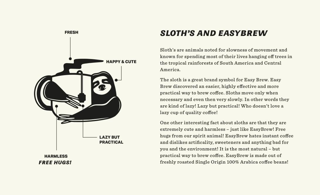 sloth-easy-brew-coffee-website-easybrew-packaging-zeki-michael-pinterest-coffee-beer-label-branding-strategy-design-practical-studio-freelance
