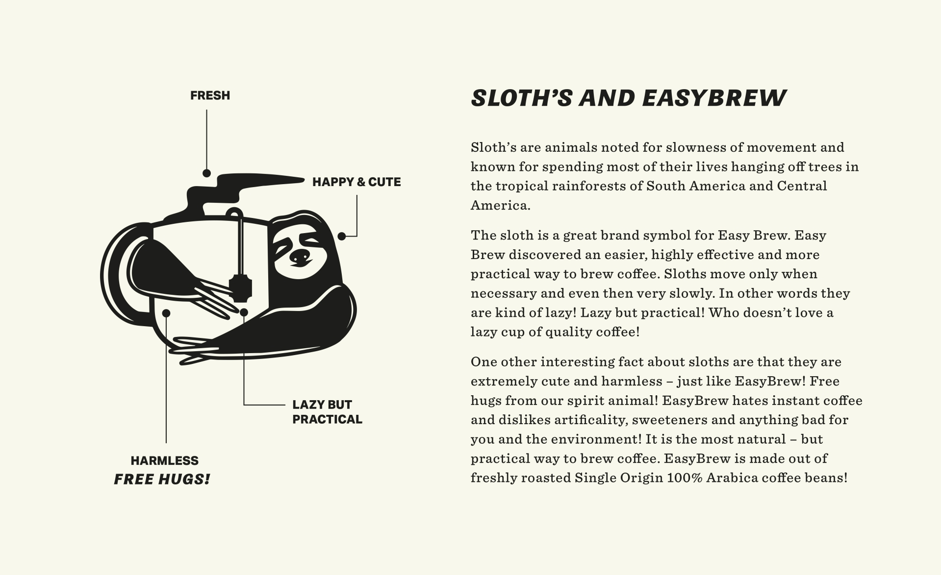 sloth-easy-brew-coffee-website-easybrew-packaging-zeki-michael-pinterest-coffee-beer-label-branding-strategy-design-practical-studio-freelance
